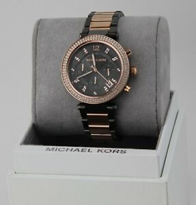 49d4959990bf NEW AUTHENTIC MICHAEL KORS PARKER ROSE GOLD GREY CRYSTALS WOMEN S ...
