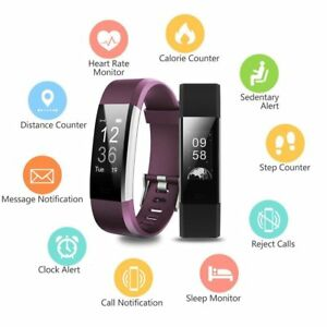 Details about Fitness Tracker Watch Fitbit Bluetooth Activity Monitor Smart  Running Heart Rate