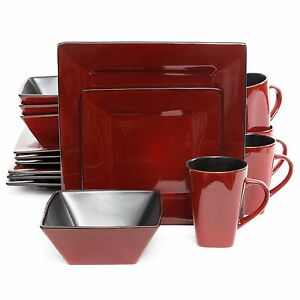 Image is loading Red-Square-Dinnerware-Set-Dishes-Black-Kitchen-Everyday-  sc 1 st  eBay & Red Square Dinnerware Set Dishes Black Kitchen Everyday Use 16 Piece ...