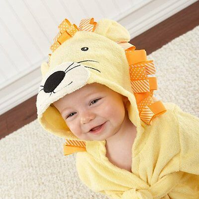 Lion yellow baby infant Bath Beach Hooded TERRY Towel Robe for fun bathtime