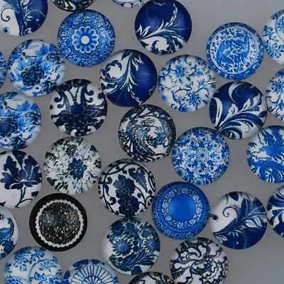 Blue and White Porcelain Cabochons Photo Glass Cabochons Dome Cameo Jewelry DIY