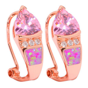 Pink-Fire-Opal-Pink-Topaz-CZ-Rose-Gold-Plated-Women-Jewelry-Clip-Earrings-OH4287