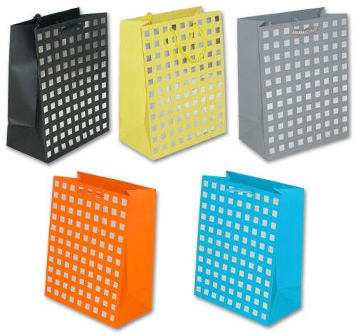20 Geschenktüten Metallic Quadrate M 23x18x10 Geschenktasche 99-8676