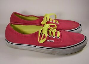 Vans Authentic Canvas Sneakers Shoes Hot Pink w  Neon Laces Women s ... 94876a8acd04
