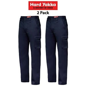 Mens-Hard-Yakka-Cargo-Pants-2-PK-Gen-Y-Cotton-Drill-Work-Tough-Heavy-Duty-Y02500