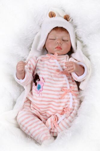 "Clothes ON SALE 22/"" Baby Dolls Silicone Vinyl Reborn Newborn Girl Sleeping Doll"
