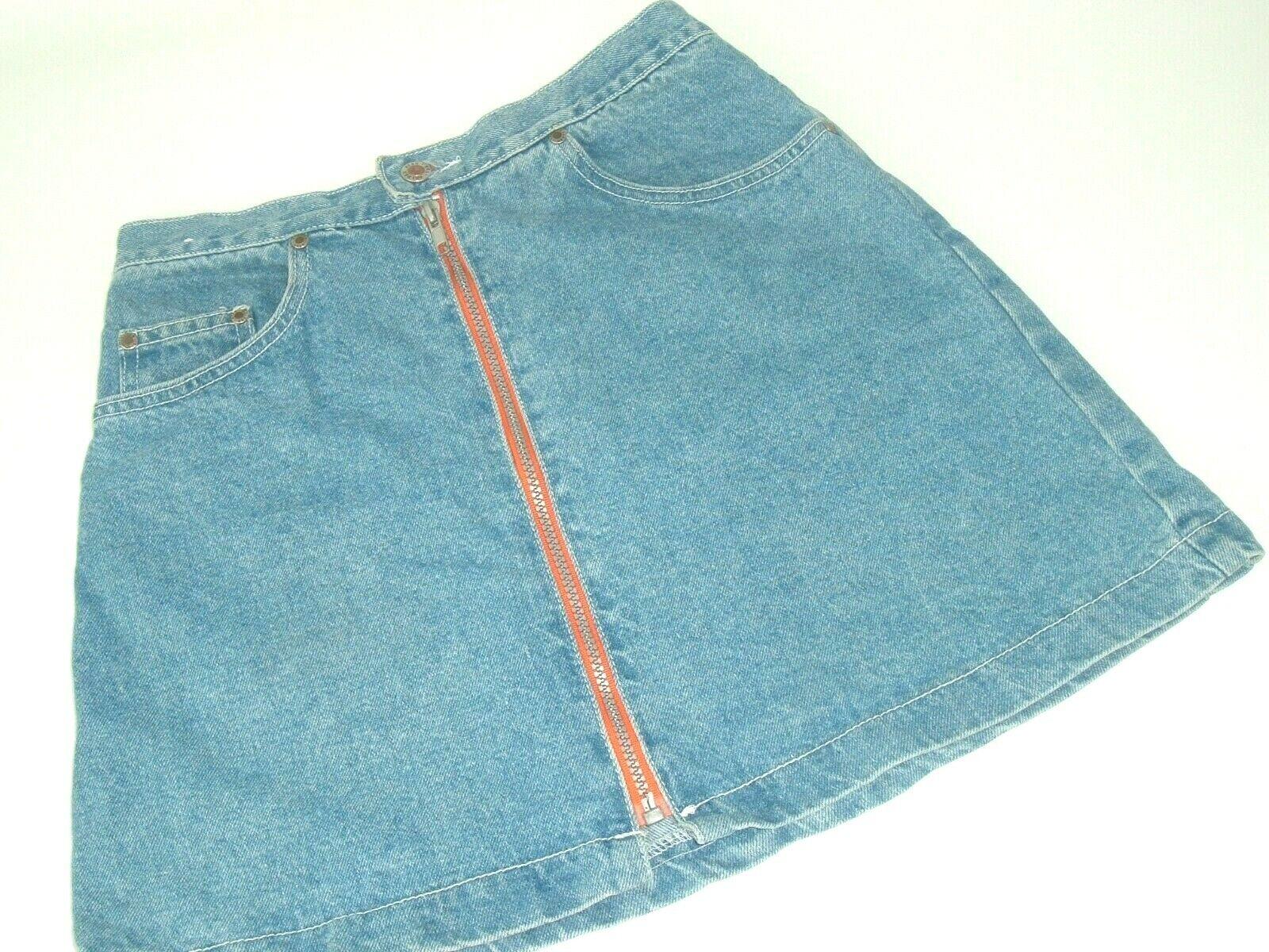 Vtg 90s Denim Skirt orange Zipper Front golden Star USA S Street wear grunge