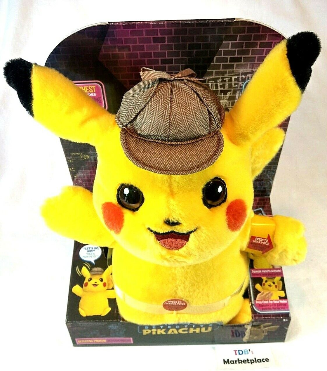Pokemon Detective Pikachu Plush DETECTIVE 8 inch Wicked Cool Toys Stuffed NEW