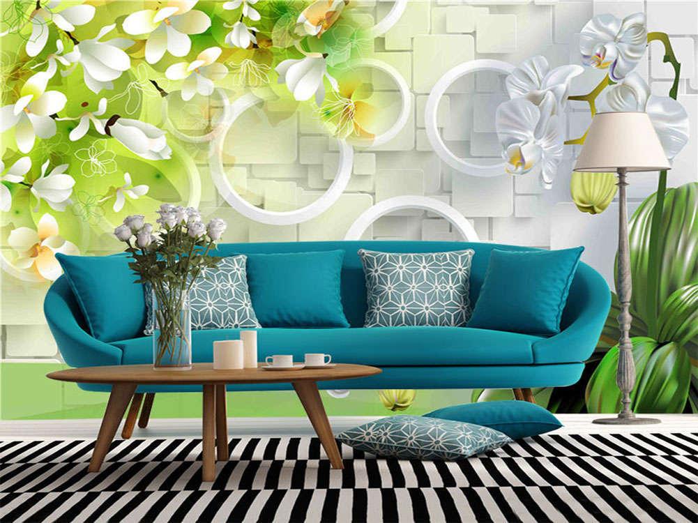 Blooming White Flowers 3D Full Wall Mural Photo Wallpaper Printing Home Kids Dec