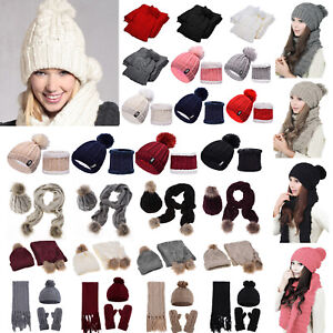 Womens Knit Hat Plain Thermal Ski Caps Neck Warmer Sets Ladies Pom ... 18388689879