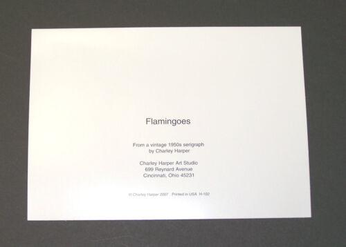 "Charles//Charley Harper Notecards /""Flamingos/"" 4 Pack w//Envelopes"