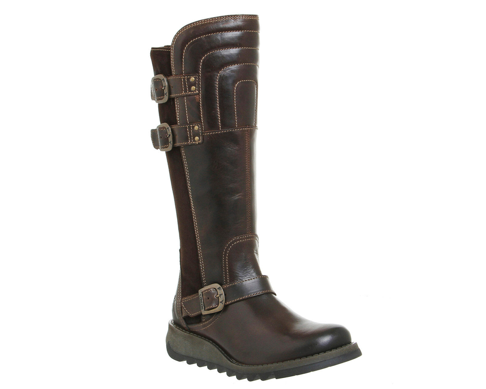 FLY LONDON Sher ' Damen Leder Stiefel dunkelbraun