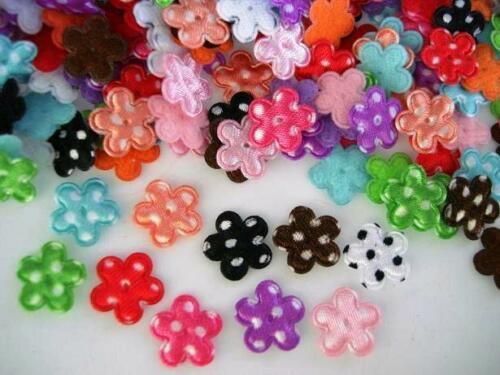 200 Assorted Padded Fabric Polka Dot Mini Satin Flower Applique//Daisy//Trim H373