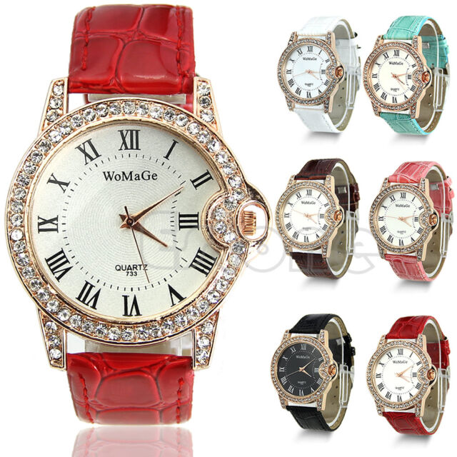 Ladies Leather Quartz Wrist Crystal  Watch Sport Rhinestone Classic Dial Womens