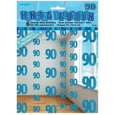 Blue Glitz 90th Birthday Hanging Decorations Pack 6 5ft Strands Unique Party