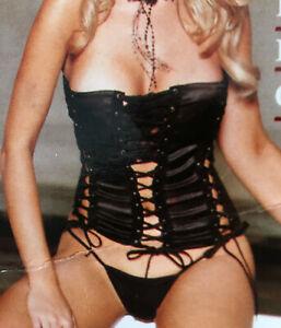 Black Satin Lace Up Bustier & Thong Set Tie Up corset Strapless Corset Lingerie