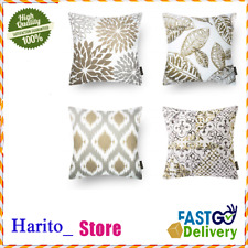 4 Fundas Forros 18x18 Para Cojines Decorativos Color Cafe y Blanco De Sofa Sala