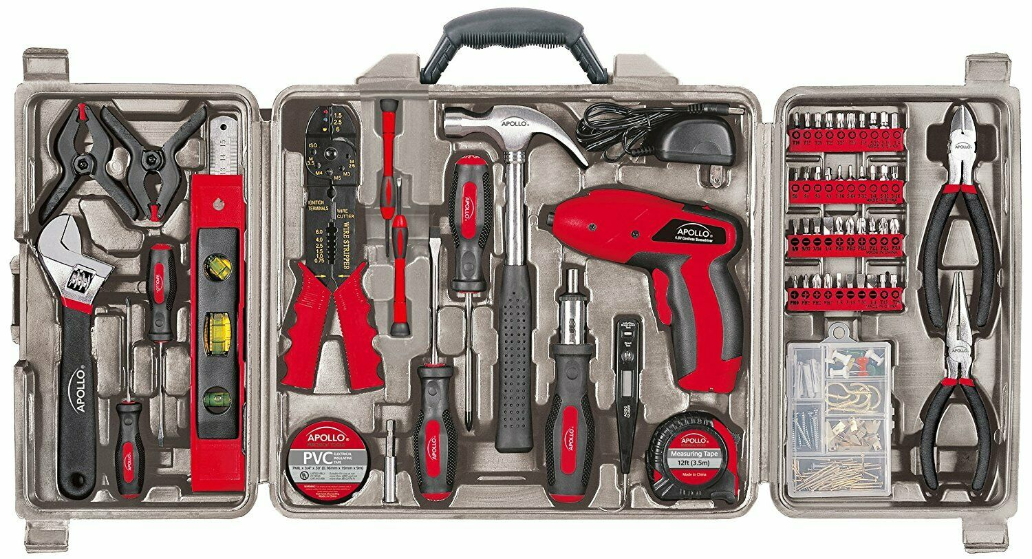 Apollo Tools DT0738 161 Piece Complete Household Tool Kit with 4.8 Volt Cordless