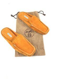 grande selezione del 2019 nuove immagini di ottenere a buon mercato Dettagli su Hermès Ciabatte Slippers Arancioni Orange Velluto Usate 40eu  Us7 Originali 100%