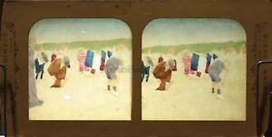Alla-Spiaggia-Scena-di-genere-Fotografia-Colorati-Diorama-Stereo-Vintage
