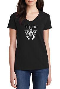 Ladies-V-neck-Trick-or-Treat-Smell-My-Feet-T-shirt-Halloween-Costume-Shirt-Tee