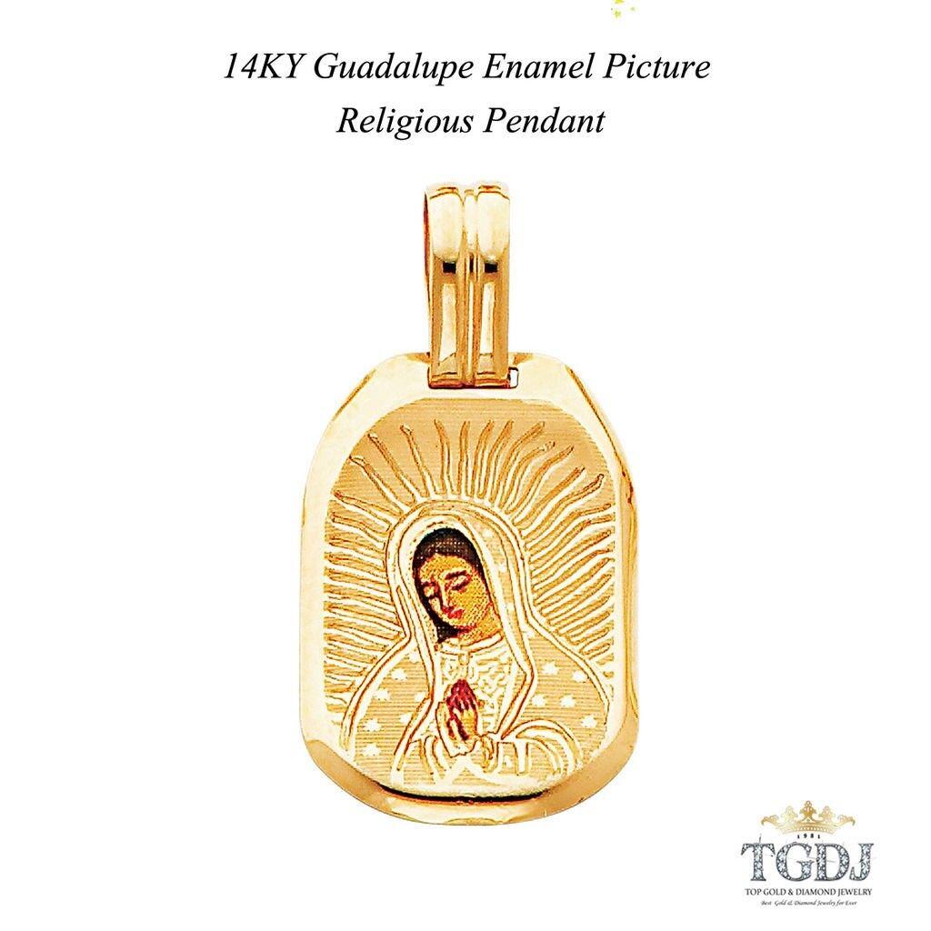 Guadalupe Enamel Picture Religious Pendant 14K  Yellow gold Religious Pendant