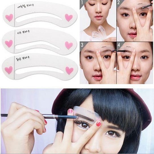 3 Pcs Magic DIY Drawing Eyebrow Grooming 3 Shape Cards Stencil Kit Make Up Tools