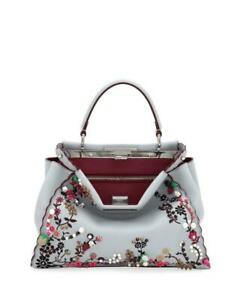 NWOT-Fendi-Grey-Leather-Silk-Floral-Beaded-Peekaboo-Tote-Bag-w-Strap-5-900