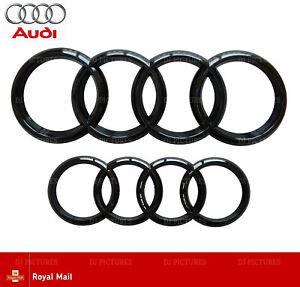 Audi-Noir-Brillant-Avant-Arriere-Calandre-Bonnet-Badge-Anneaux-Q3-Q5-Q7-A6-A7-285-mm-216-mm