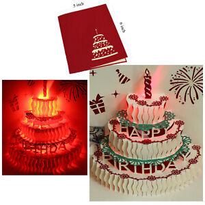Image Is Loading 3D Pop Up Greeting Cards LED Light Amp