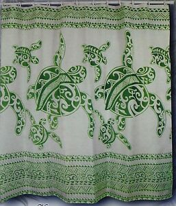 Image Is Loading Sage Green Turtle Hawaiian Fabric Shower Curtain Animal