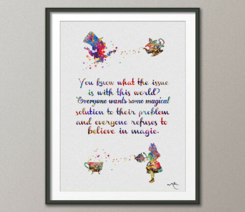Mad Hatter Tea Party Alice in Wonderland Quote Watercolor Print Tea Time Kitchen