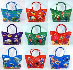 Waterproof Jumbo Canvas Beach Bag Sea Turtle Fish Seahorse Parrot ...