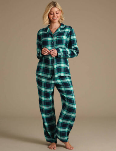 Womens Turquoise /& Silver Sparkle Checked Long Sleeve Pyjama Set Sizes 6-22.