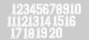 Détails sur Adidas Blanc Troupeau des numéros 1 20 de football Nameset pour chemise ensemble complet afficher le titre d'origine