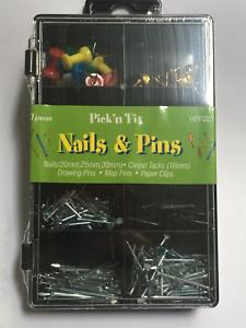 Pick n Fix Nails /& Pins 300 Pce Set Drawing Pins Map Pins Carpet Tacks HPP205