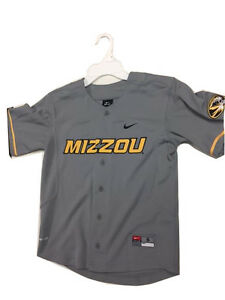 e0ea7cd905fc Mizzou Youth Button Up Baseball Dri-Fit Jersey Gray University of ...