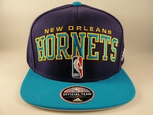 e521d8eac26 New Orleans Hornets NBA Adidas Draft Cap Snapback Hat Purple Teal ...