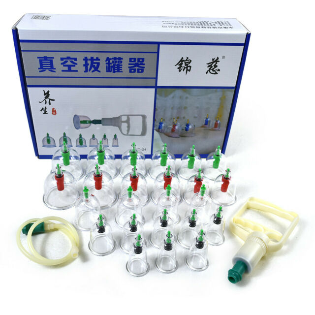 Ancient Chinese Cupping: 24 Cups Traditional Chinese Vacuum Suction Cupping Therapy
