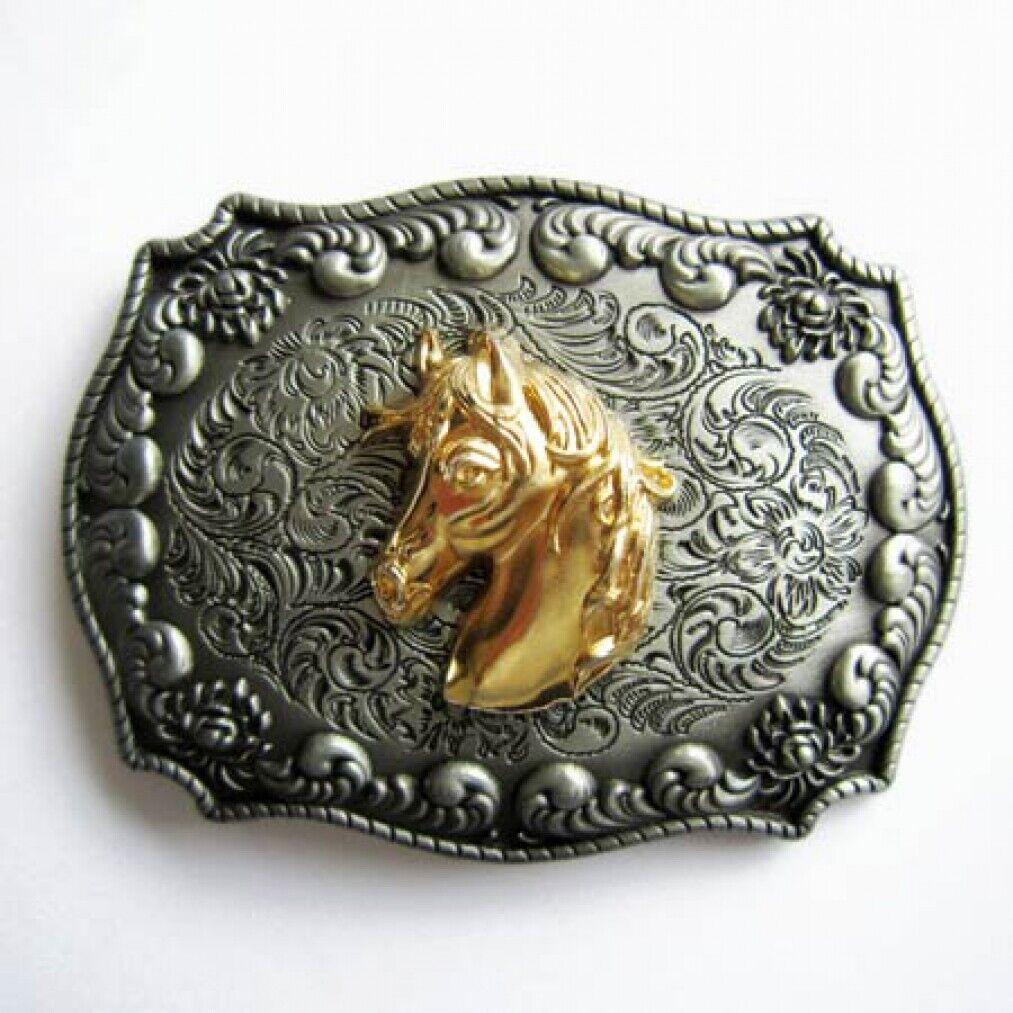 Buckle Pferd, Pony, Mustang, Pferdekopf, 24 ct. Gold, Gürtelschnalle