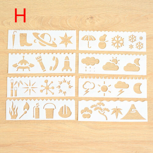 8Pcs//set Templates Stencils Scrapbook Drawing Art Planner Drafting Drawing DIY