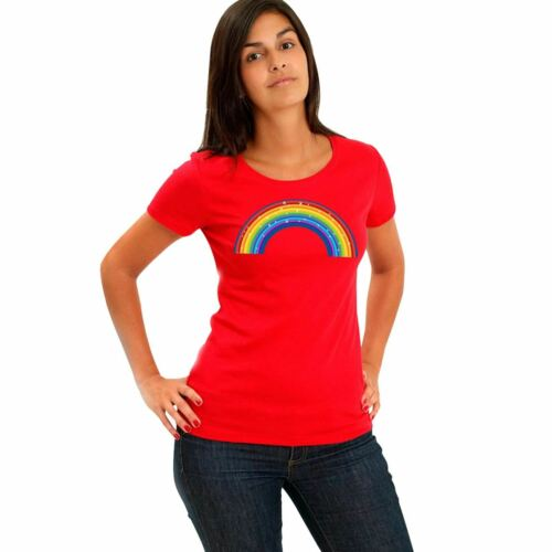 Women Rainbow Sparkling NHS Print T Shirt Ladies Short Sleeve Top Cotton 8093