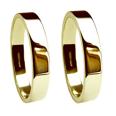 Kreativ 4mm 9ct Yellow Gold Flat Profile Wedding Rings Uk Hm 375 Med Hvy & X Heavy Bands SchüTtelfrost Und Schmerzen