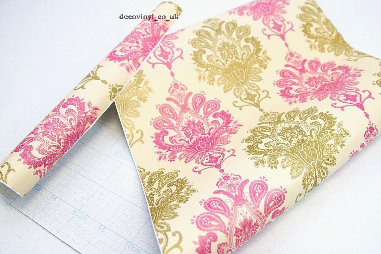 Carta Da Parati Damascata Rosa : Rotoli e fogli beige damascato rosa appiccicoso posteriore in