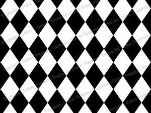 Black & White Diamond Harlequin Background Pattern Edible ... Black Diamond Pattern Background