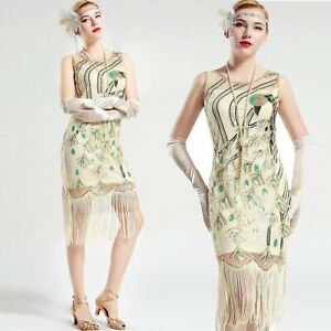 Vintage-1920s-Gatsby-Cream-White-Peacock-Sequin-Fringed-Party-Flapper-Dress