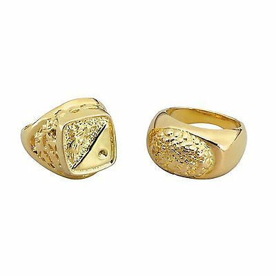 3 x Gangster Gold Chunky Bling Rings Mr T Pimp FancyDress 80/'s Adult size Rapper