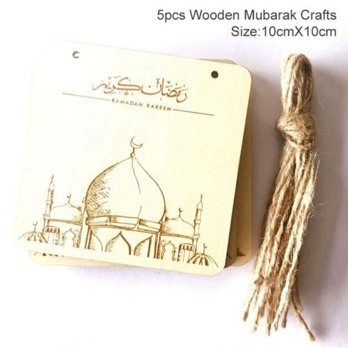 Ramadan Wooden Eid Mubarak Decoration For Home Moon Islam Hanging Decor Pendant
