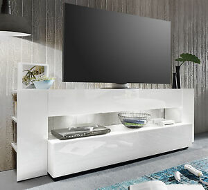 tv lowboard wei hochglanz tv tisch fernsehtisch und hifi rack m bel 185 cm onyx ebay. Black Bedroom Furniture Sets. Home Design Ideas