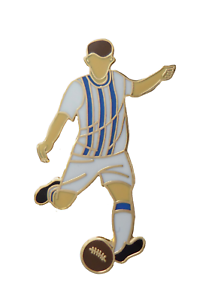Royal Blue & White Stripes Football Player Gold Plated Pin Badge